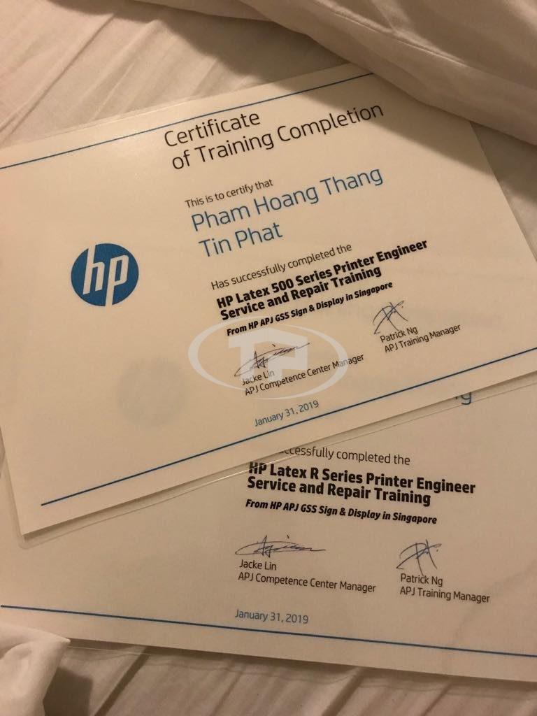 Chứng chỉ kỹ thuật HP Latex của kỹ thuật viên Tín Phát